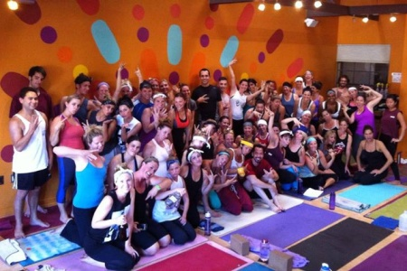 Throwing gang signs--the authentic way to end Savasana  (source)